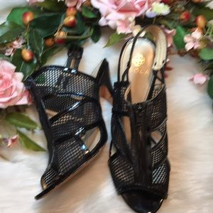 "Idols Black Mesh Zippered Top 4 1/2"" Heel 7 1/2"